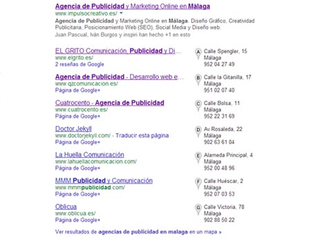google maps agencias de publicidad malaga